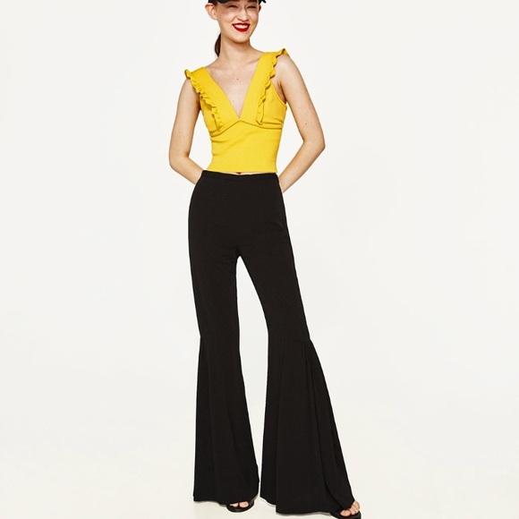 25bf5355a Zara Pants | Nwt Flared Flowing Trousers Black | Poshmark